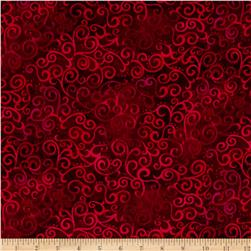 "Quilting Treasures 108"" Wide Quilt Back Ombre Scroll Ruby"