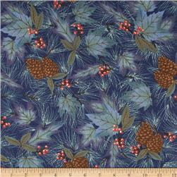 Moda Winter Forest Flannel Forest Pattern Indigo