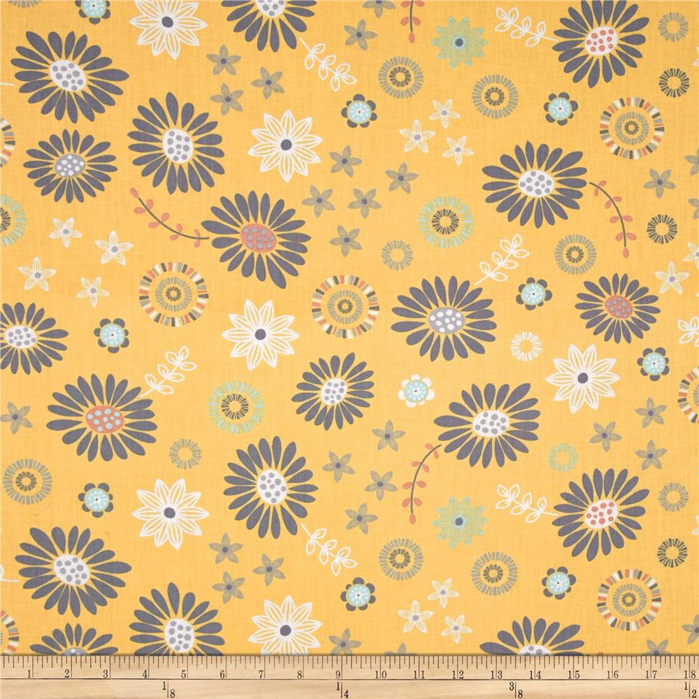 Timeless Treasures Lily Tossed Floral Yellow