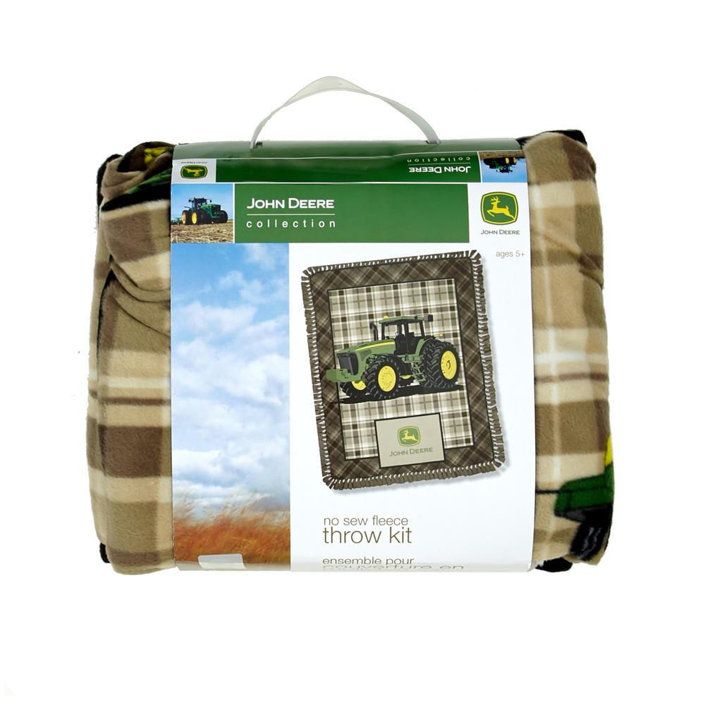John Deere No Sew Fleece Kit Brown Plaid Brown