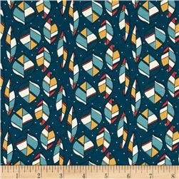 Birch Organic Knit Picnic Whimsy Leaves Teal