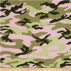 T-Shirt Jersey Knit Big Camo Light Pink/Lime Green/Hunter