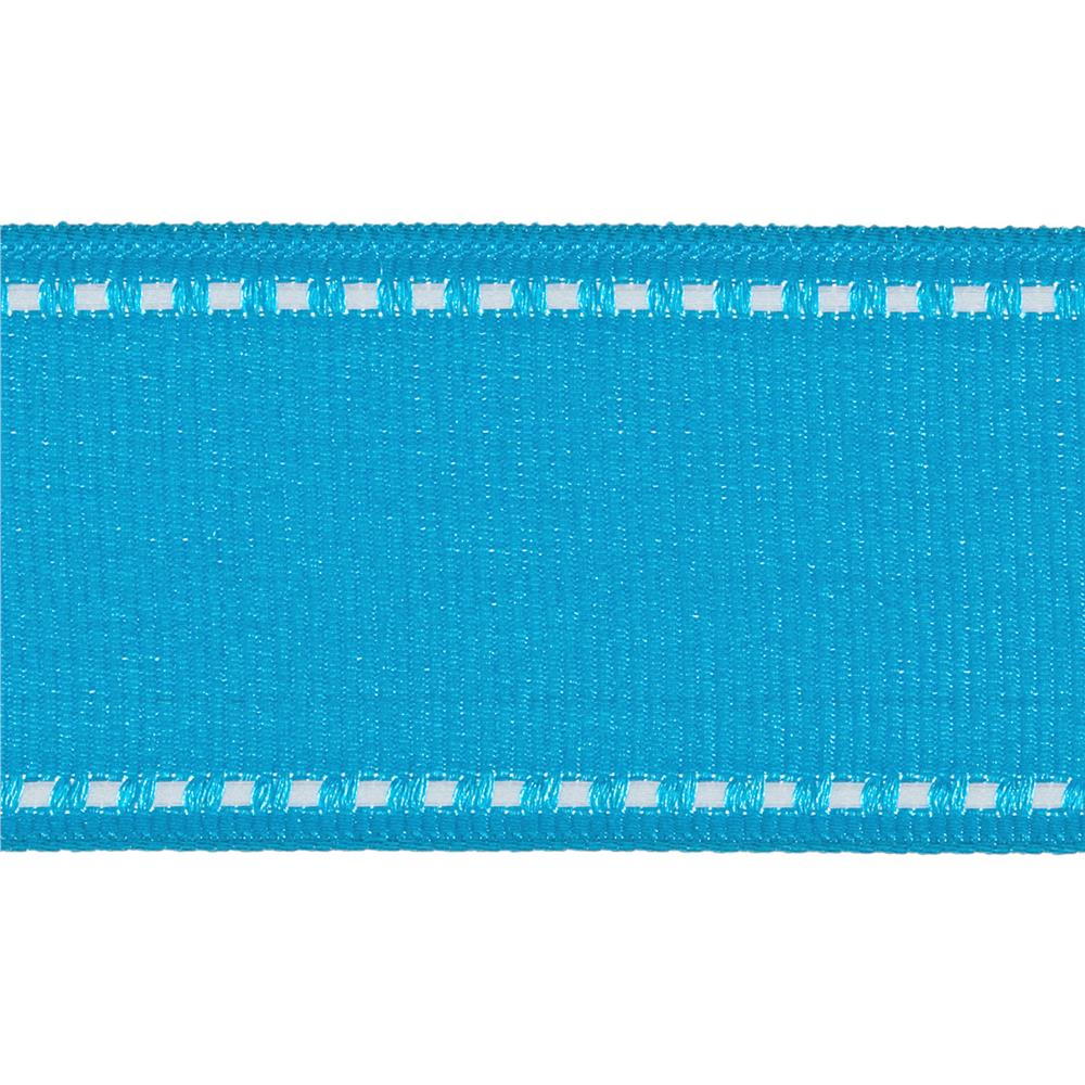 "1 1/2"" Grosgrain Stitched Edge Ribbon Aqua/White"