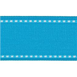 1 1/2'' Grosgrain Stitched Edge Ribbon Aqua/White