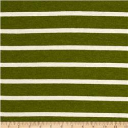 Jersey Knit Stripe Pickle Green/Ivory
