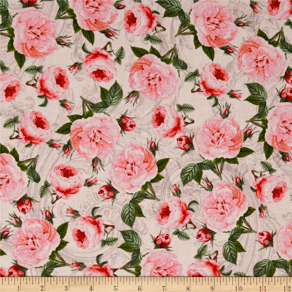 Baroque Peacock Roses Cream