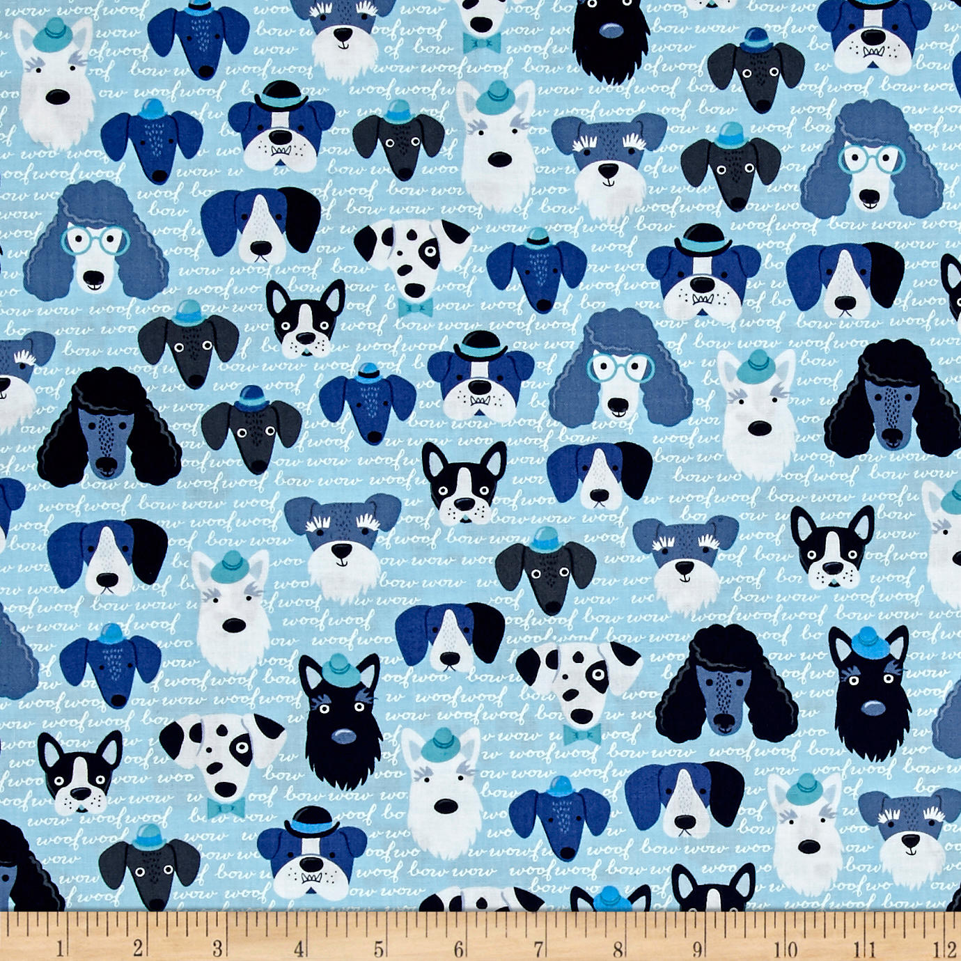 Kaufman Classy Canines Dog Faces Blue Fabric