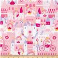 Timeless Treasures Pretty Princess Castles & Princesses Pink