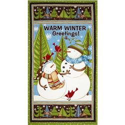 Swirly Snowmen Panel Large Snowman Multi