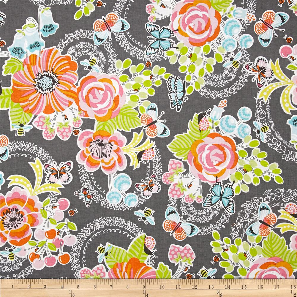 Field Day Large Floral Grey