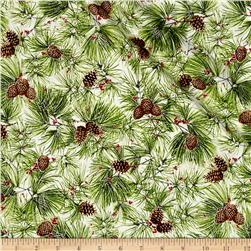 Cozy Cabin Christmas Pine Needles Metallic Multi