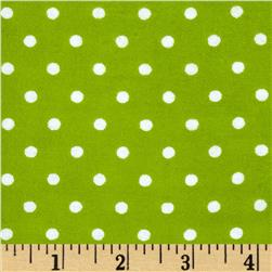 Aunt Polly's Flannel Small Polka Dots Light Lime/White