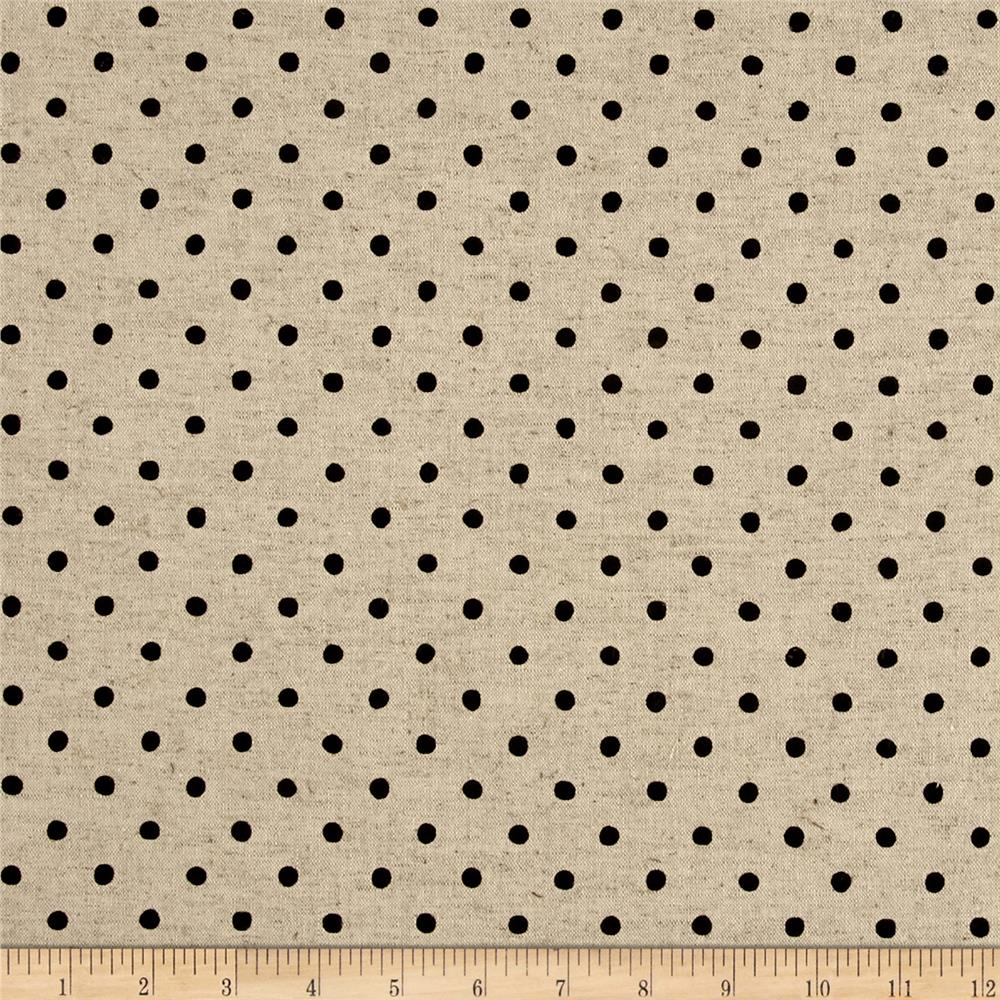 Kaufman Sevenberry Canvas Natural Dots Small Jet