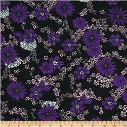 Poly Challis Floral Purple/Pink/Black