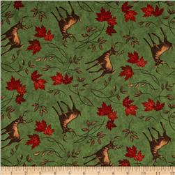 Moda Turning Leaves Deer Print Beech Green