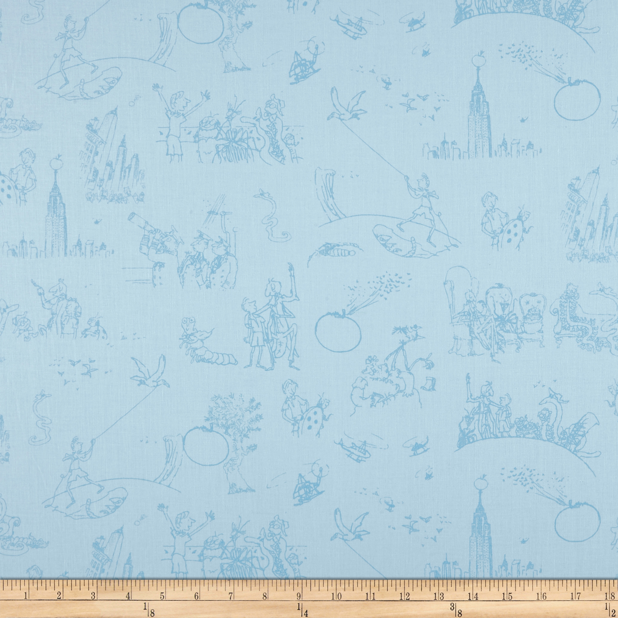 Riley Blake James And The Giant Peach Toile Blue Fabric