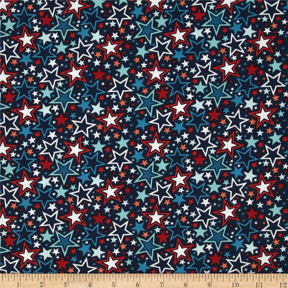 Blast-Off Stars Allover Navy