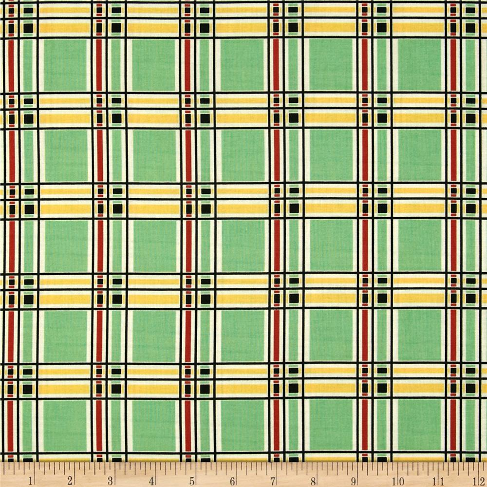 Aunt Grace Ties One On Plaid Green