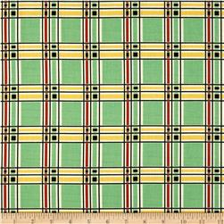 Aunt Grace Ties One On Plaid Green Fabric