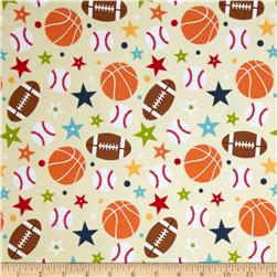 Riley Blake Play Ball Flannel Main Tan