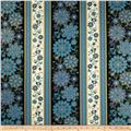 Timeless Treasures Dynasty Metallic Medallion Floral Stripe Black