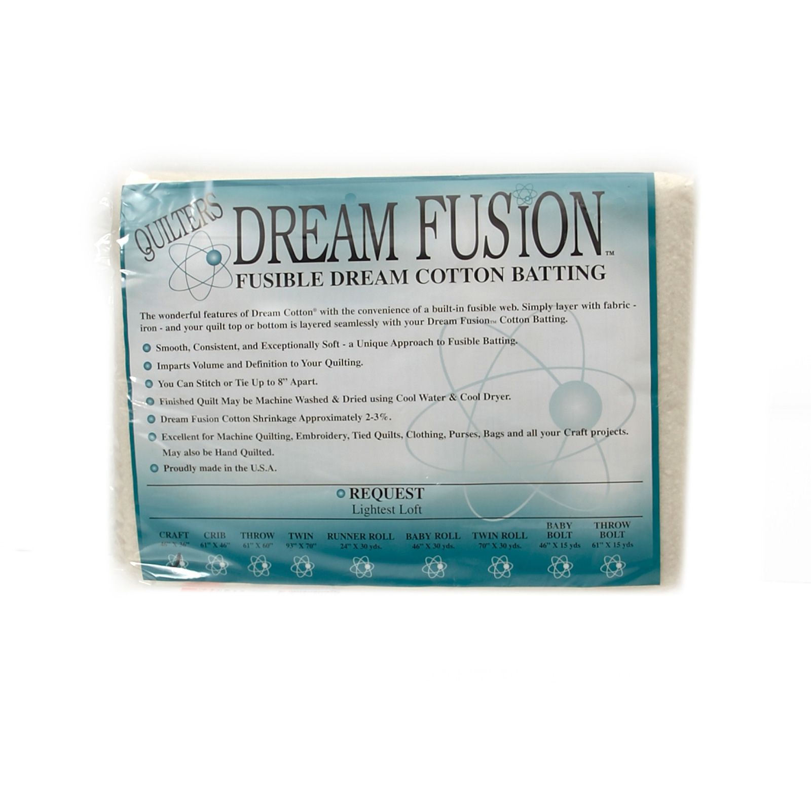 Quilter's Dream Fusion Cotton Request Batting (46'' x 36'') Craft by Quilter's Dream in USA