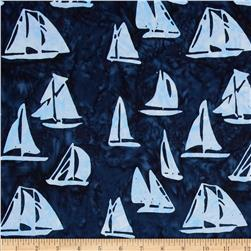 Timeless Treasures Tonga Batik Pacifica Sailboats Sea