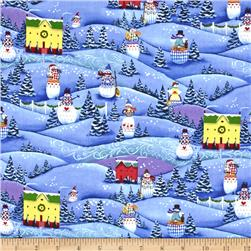 Jim Shore Snowmen Packed Snowmen on Hills Blue