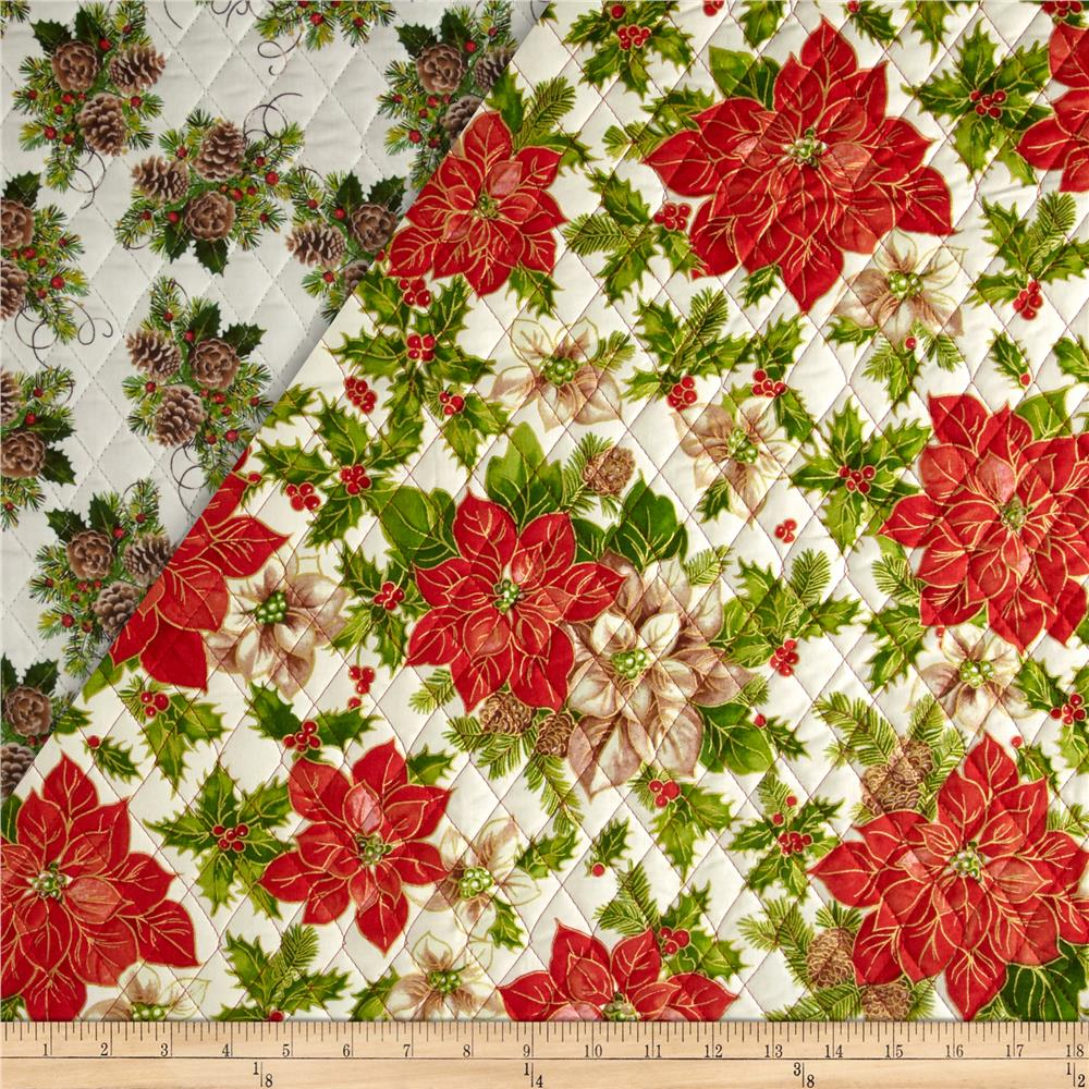 Christmas Day Double-Sided Quilted Poinsettias White Fabric