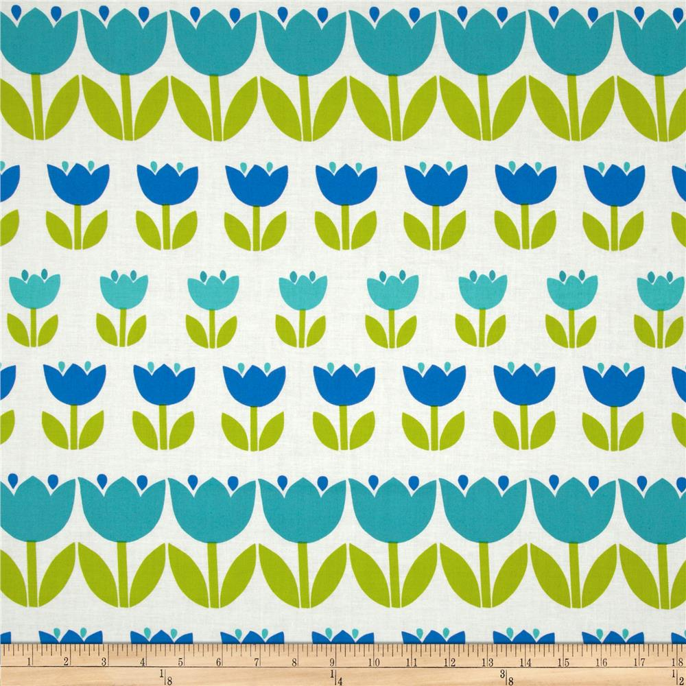 Contempo Palm Springs Tulips Blue/Turquoise/White