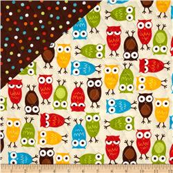 Urban Zoologie Double Faced Quilted Owls/Dots Multi Fabric