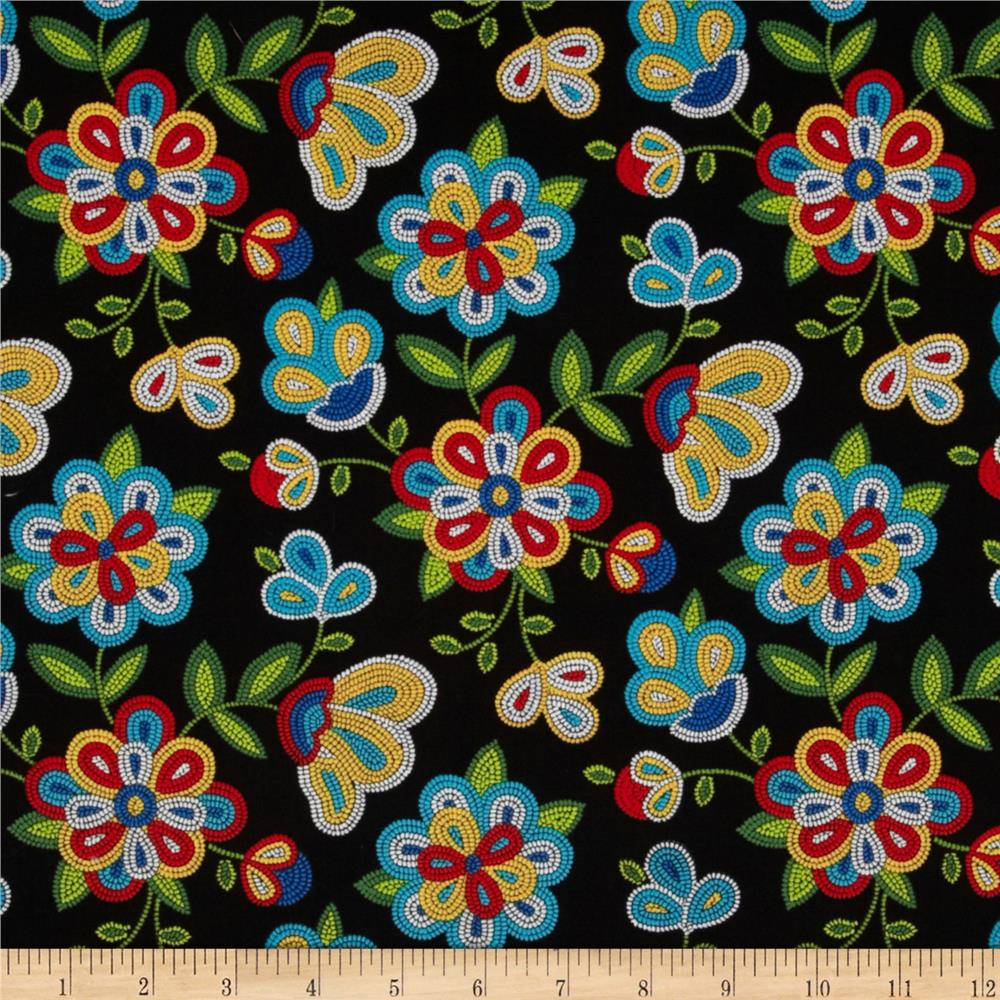 Tucson beaded floral black discount designer fabric for Black fabric