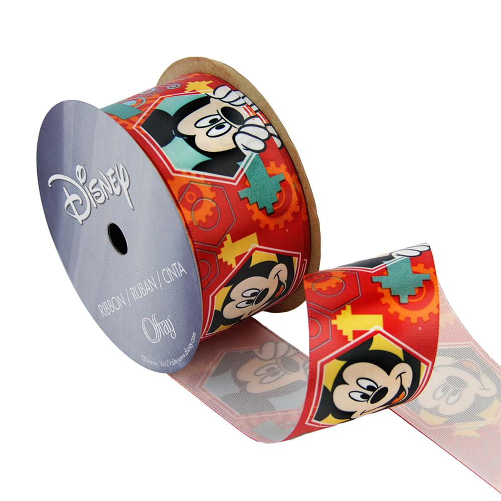 "1 1/2"" Mickey Mouse Ribbon Faces Red"