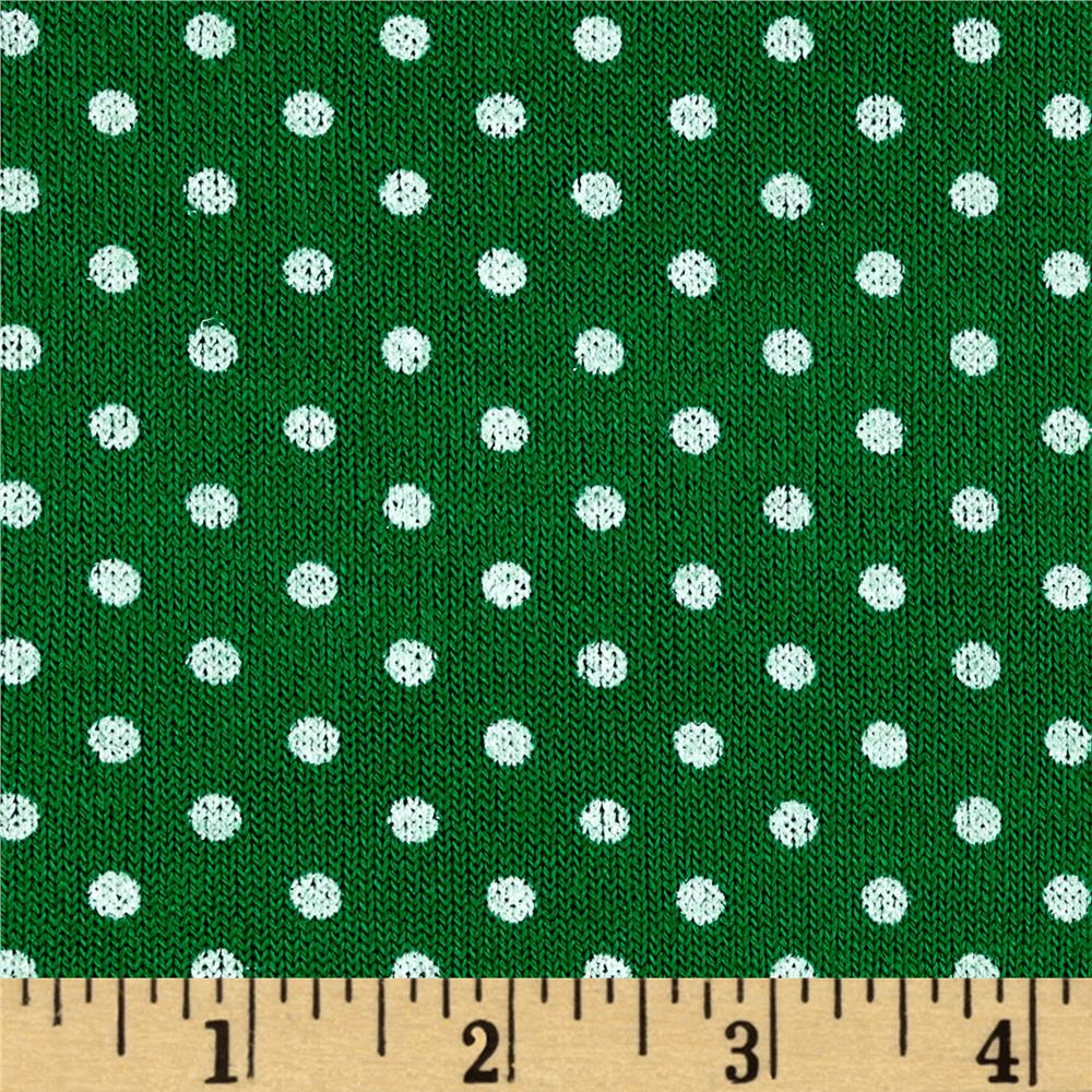 Hatchi Sweater Knit Polka Dot Print Kelly Green