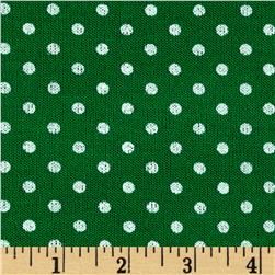 Hatchi Sweater Knit Polka Dot Print Kelly Green White