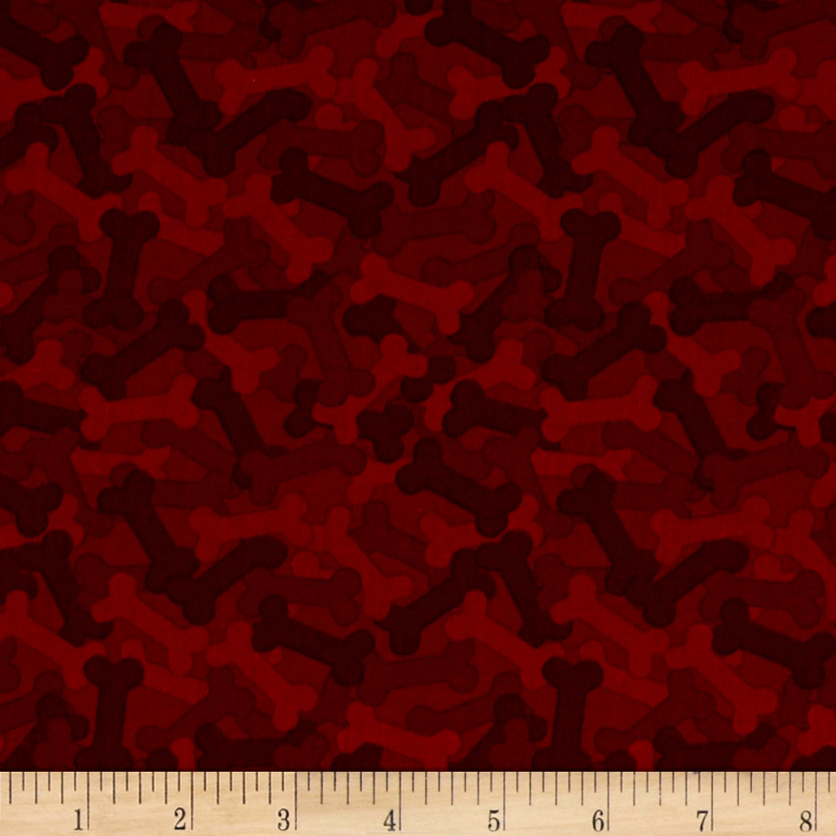 It's A Dog's Life Bones Red Fabric
