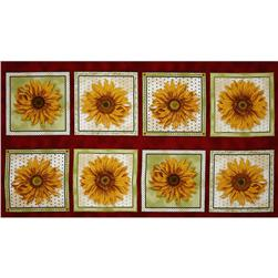 Sunny Day Sunflower Panel Red/Gold