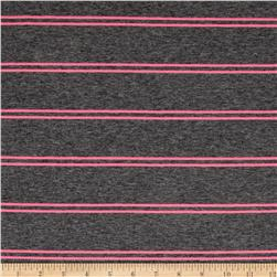 Designer Jersey Knit Stripe Heather Grey/Neon Pink