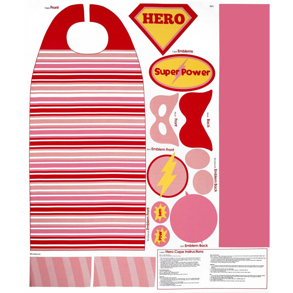 Riley Blake Super Hero Cape Panel Pink