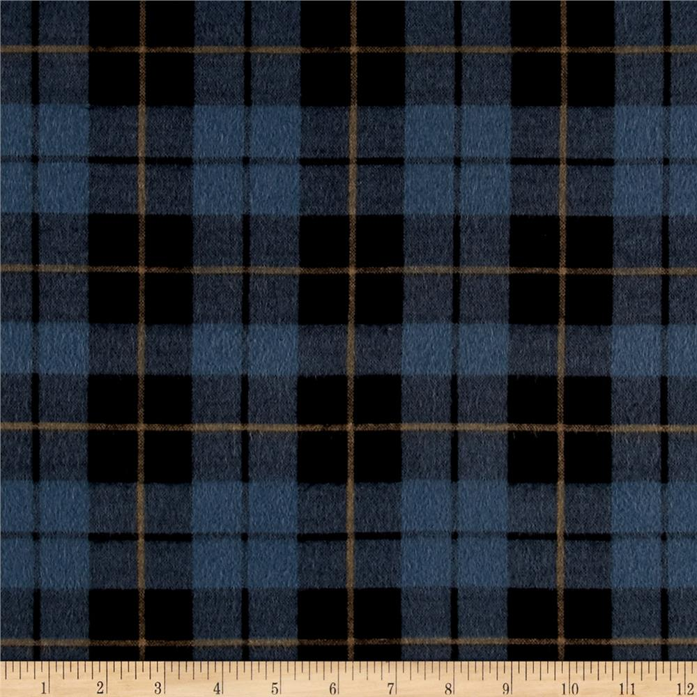 Wilderness Flannel Plaid Dark Denim Fabric