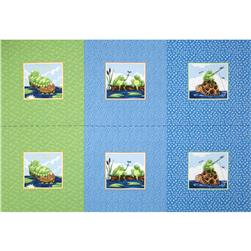 Susybee Paul & Sheldon Gone Fishing Pillow Panel Blue