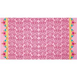 Anna Double Border Flourish & Flowers Pink Fabric