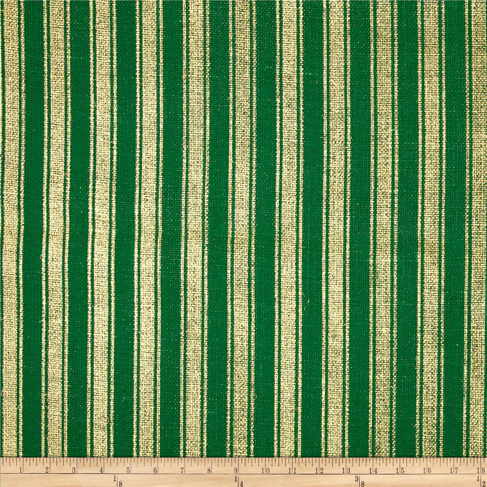 "60"" Metallic Foil Stripe Burlap Emerald/Gold"