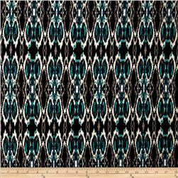 Designer Stretch ITY Jersey Knit Ikat Shake Black/Teal