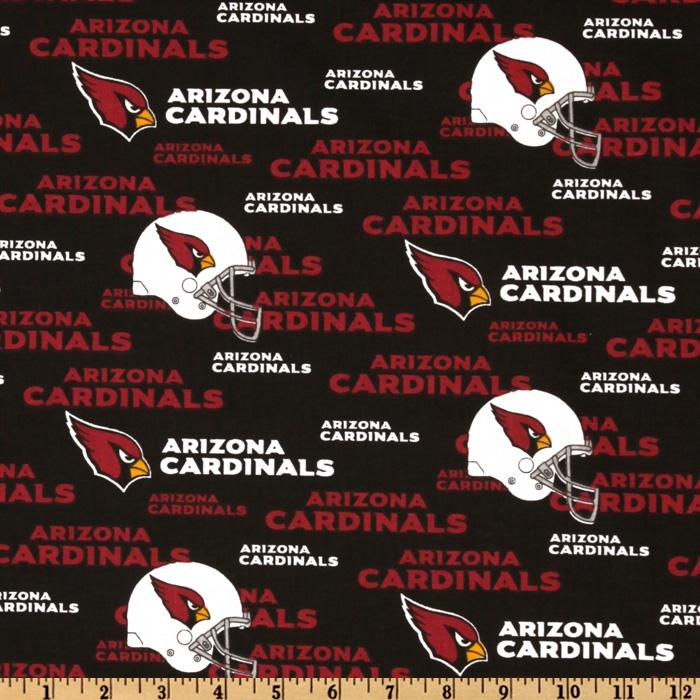 NFL Cotton Broadcloth Arizona Cardinals Red/Black/White Fabric By The Yard
