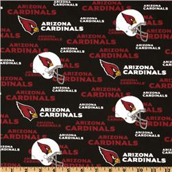 NFL Cotton Broadcloth Arizona Cardinals Red/Black/White Fabric