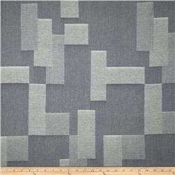 Kaufman Chambray Jacquard Irregular Blocks Indigo