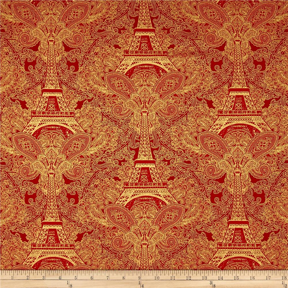 Timeless Treasures Joyeux Noel Metallic Eiffel Tower Damask Red