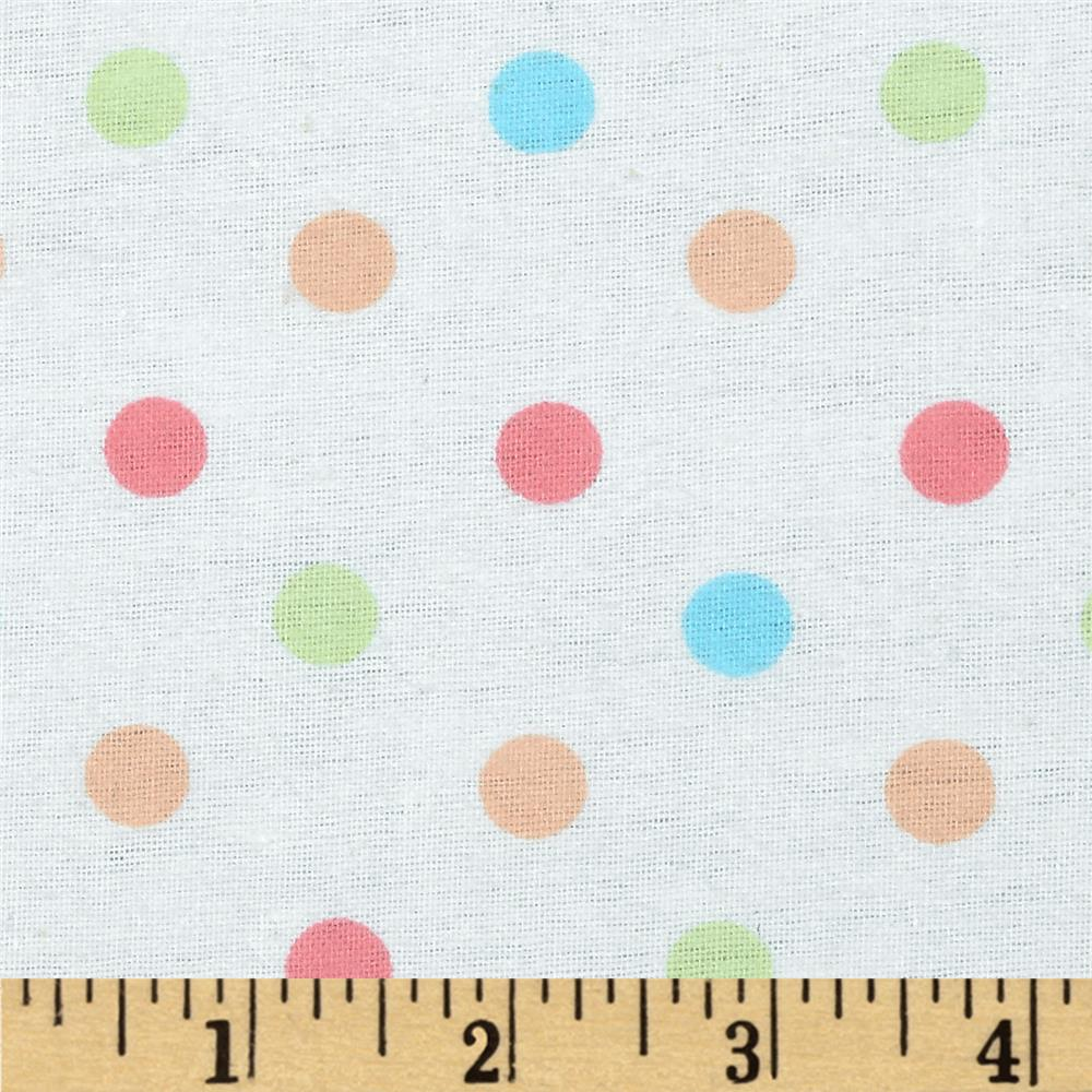 Aunt Polly's Flannel Medium Polka Dots White/Bright Multi