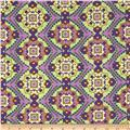 Designer Cotton Lawn Mosaic Purple/Green